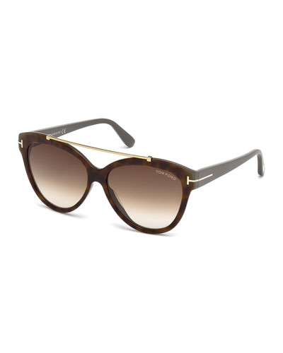 Livia Cat-Eye Brow-Bar Sunglasses, Brown Havana