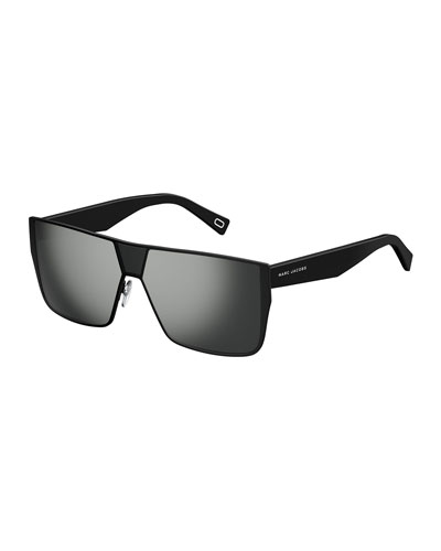 Faceted Flat-Top Oversized Square Sunglasses, Black