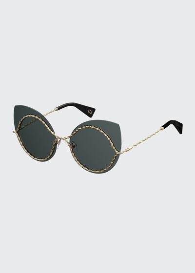 Metal Twist Cat-Eye Sunglasses, Gold/Black