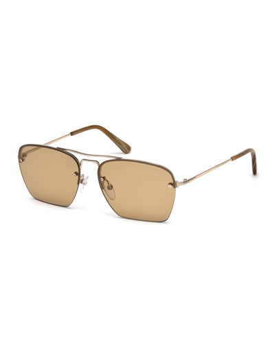 Walker Cutoff Aviator Sunglasses, Brown/Rose