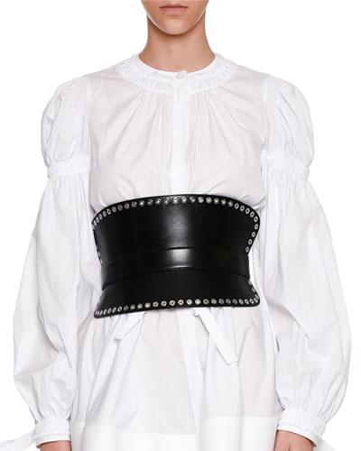 Grommet-Embellished Leather Waist Belt in Black