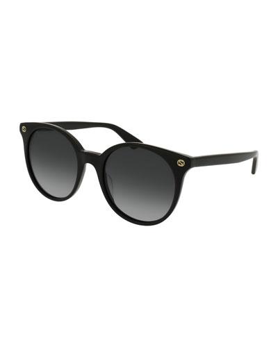 Round Gradient Acetate Sunglasses, Black