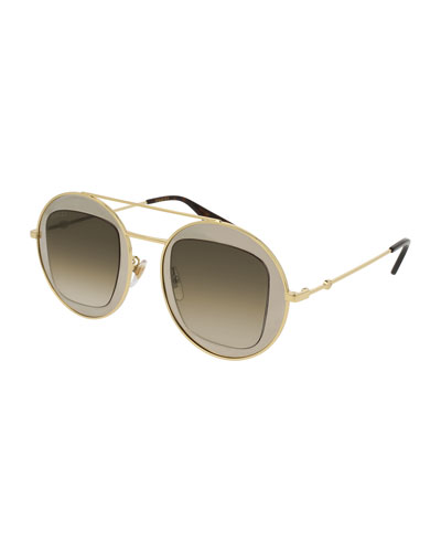 Round Brow-Bar Sunglasses, Yellow
