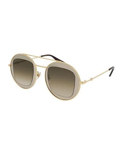Round Brow-Bar Sunglasses, Yellow