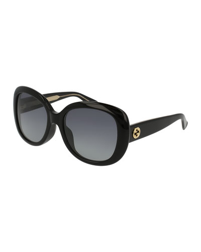 Universal-Fit Acetate Butterfly Sunglasses, Black