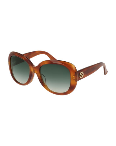 Universal-Fit Acetate Butterfly Sunglasses, Brown Havana