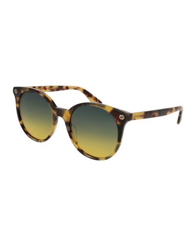 Round Gradient Acetate Sunglasses, Brown Havana