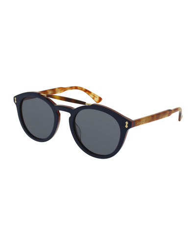 Round Two-Tone Brow-Bar Sunglasses, Blue/Havana