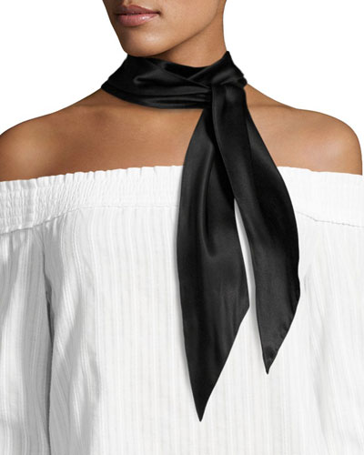 Plain Satin Super Skinny Scarf, Black