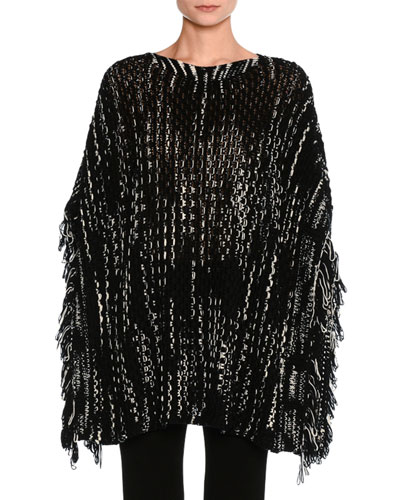 Knit Poncho Sweater, Black