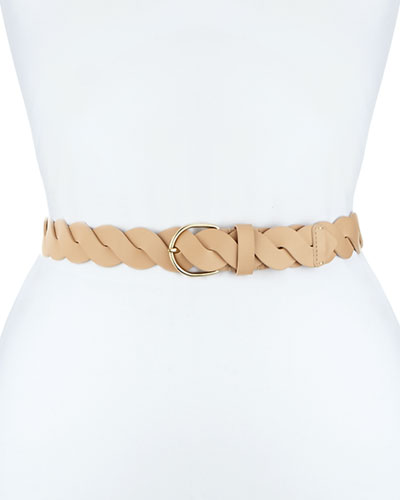 Braided Patent Leather Belt, Nude