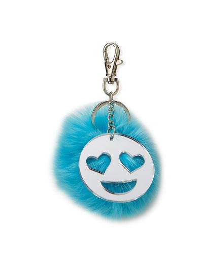Girls' Emoji & Fur Pompom Keychain, Turquoise