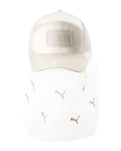 Parisian Net Veil Baseball Hat, White