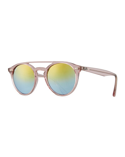 Round Mirrored Brow-Bar Sunglasses