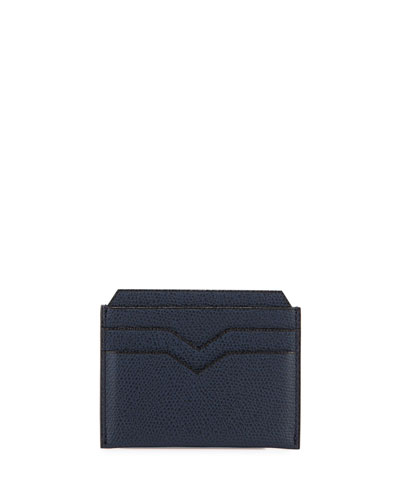 Leather Card Case, Navy