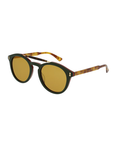Round Two-Tone Brow-Bar Sunglasses, Green/Havana
