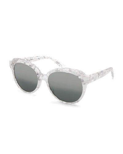 Marvalette Mirrored Butterfly Sunglasses, Coco White/Argent