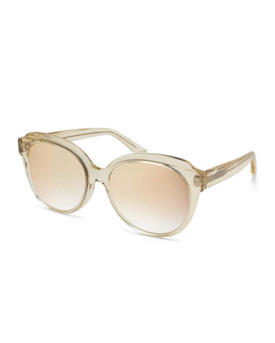 Marvalette Mirrored Butterfly Sunglasses, Champagne/Cherry Moon