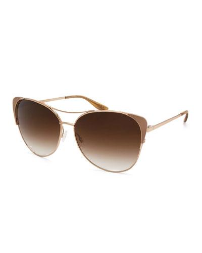 Raphina Cat-Eye Aviator Sunglasses, Smoky Topaz/Gold