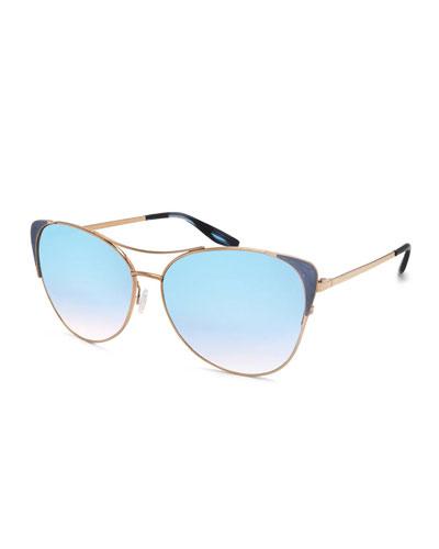Raphina Mirrored Cat-Eye Aviator Sunglasses, Arctic Blue/Gold