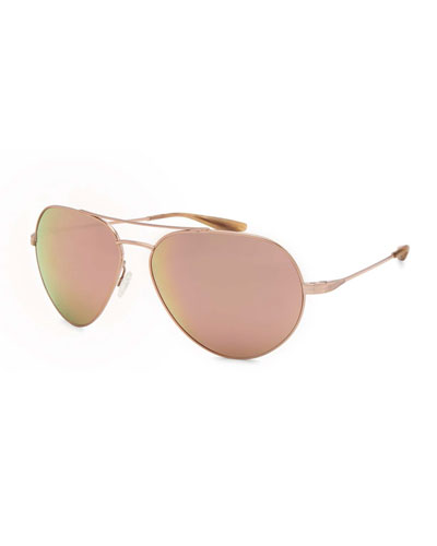 Commodore Mirrored Aviator Sunglasses, Rose Gold/Lavender