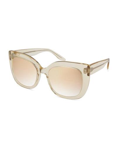 Olina Chunky Mirrored Cat-Eye Sunglasses, Champagne/Cherry Moon