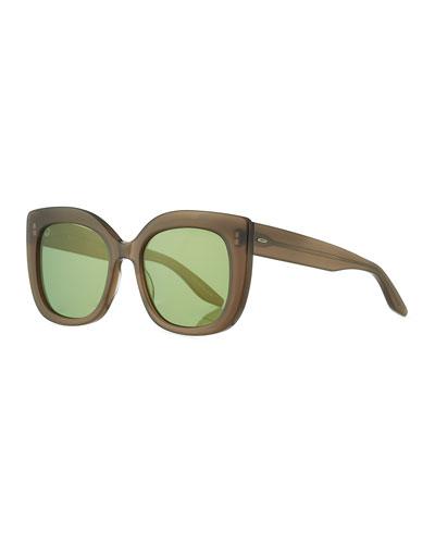 Olina Chunky Mirrored Cat-Eye Sunglasses, Mocha/Aegean