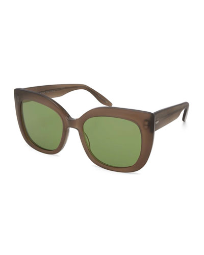 Olina Chunky Mirrored Universal-Fit Cat-Eye Sunglasses, Mocha/Aegean