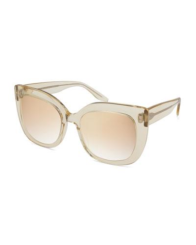 Olina Chunky Mirrored Universal-Fit Cat-Eye Sunglasses, Champagne