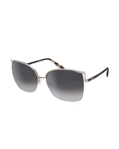 Satdha Semi-Rimless Square Sunglasses, Silver/Orion Marble/Smolder