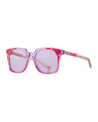 Tutti & Fruity Square Sunglasses w/ Resin Inlay