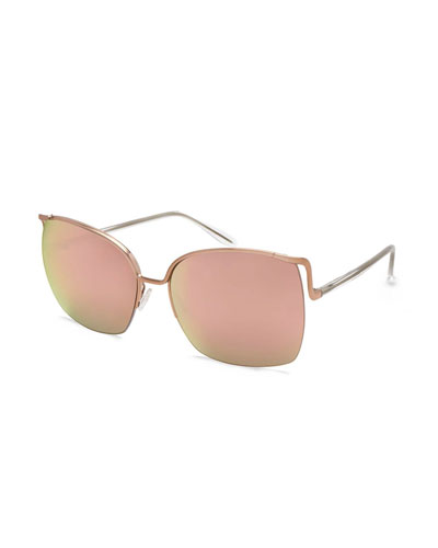 Satdha Semi-Rimless Square Sunglasses, Rose Gold/Crystal/Lavender