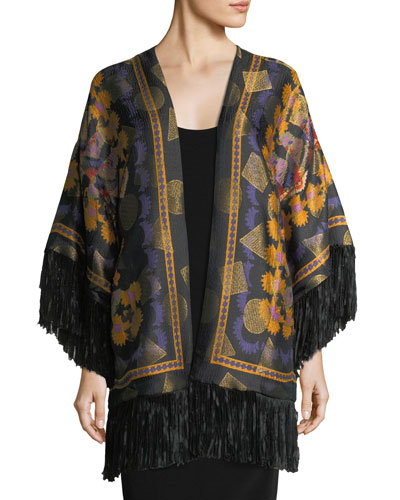Metallic Geometric Floral Poncho with Fringe