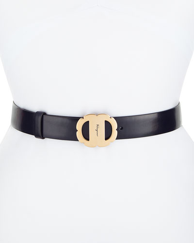 Vara Flower Buckle Reversible Leather Belt