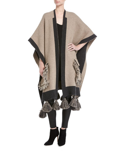 Fringed Wool-Cashmere Poncho Sweater, Beige
