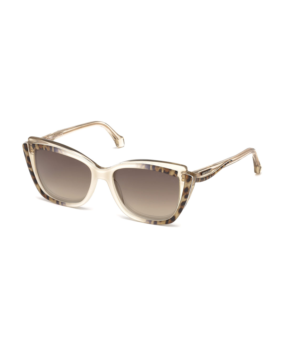 Leopard Ombre Cat-Eye Sunglasses, White/Brown