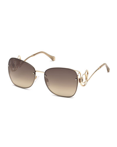 Rimless Square Swirl Sunglasses, Rose Gold/Brown