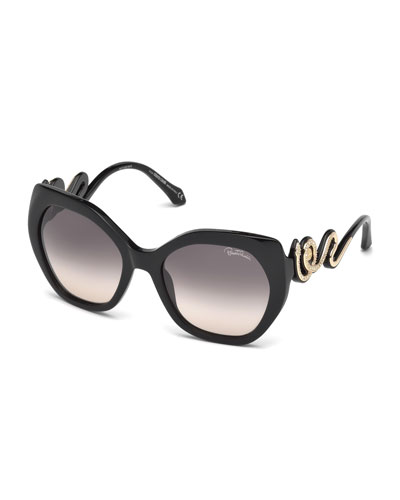 Geometric Snake Sunglasses, Black