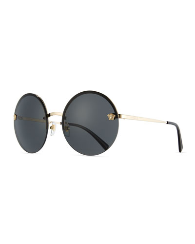 Rimless Round Monochromatic Sunglasses, Gold/Black