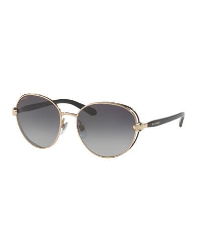 Serpenti Round Open-Inset Sunglasses, Gold/Black