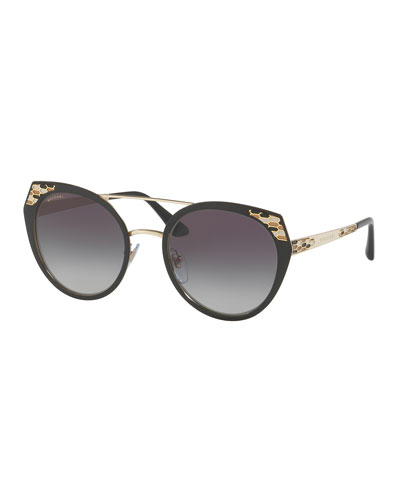 Serpenti Round Mitered Metal Sunglasses, Blue