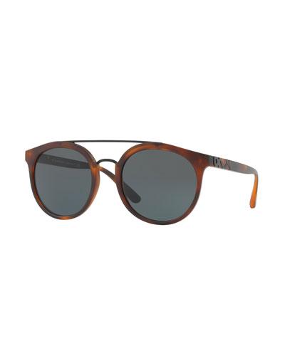 Round Embossed Double-Bridge Sunglasses, Brown Havana