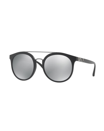 Mirrored Polarized Round Sunglasses, Black