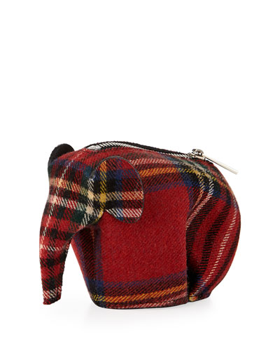 Plaid Elephant Bag Charm/Coin Purse, Red