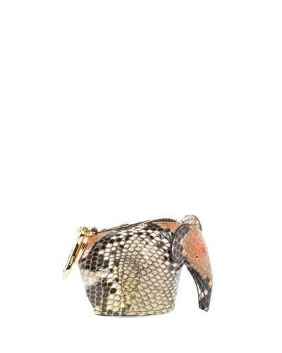 Python Elephant Bag Charm/Coin Purse, Brown