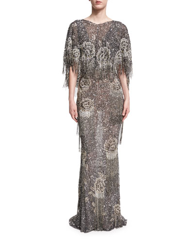 Beaded Fringe Capelet Gown
