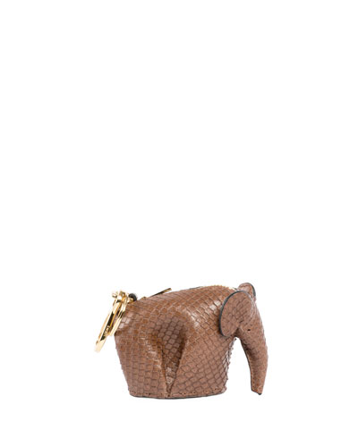 Snakeskin Elephant Bag Charm/Keychain, Brown