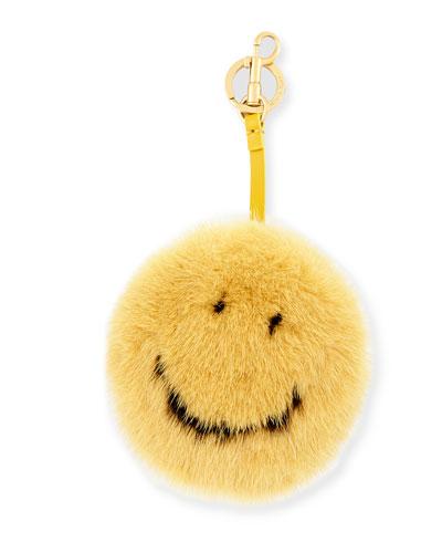 Smiley Mink Fur Bag Charm