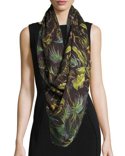 Tropical Wool-Blend Scarf