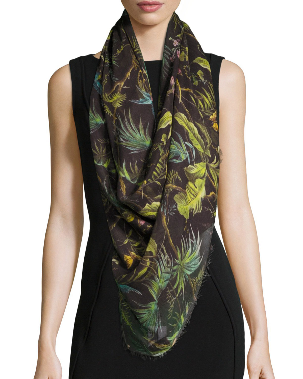 Tropical Wool-Blend Scarf